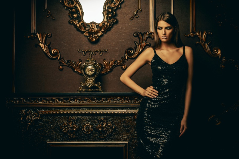 Model Black Sequin Dress Luxury Interior