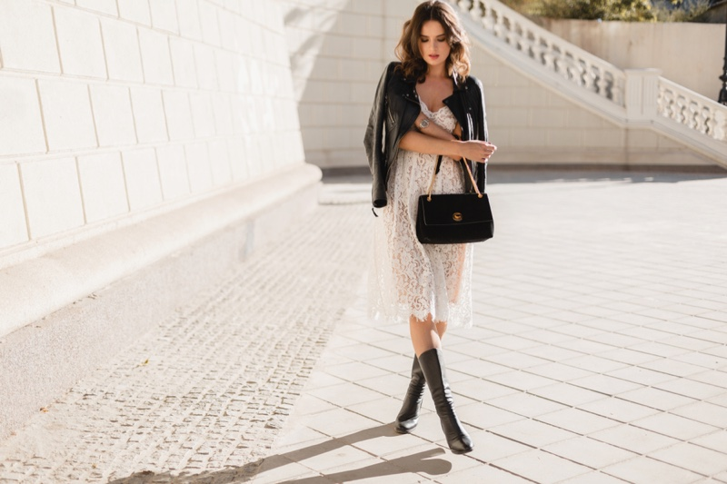 Model White Lace Dress Leather Jacket Bag Outfit