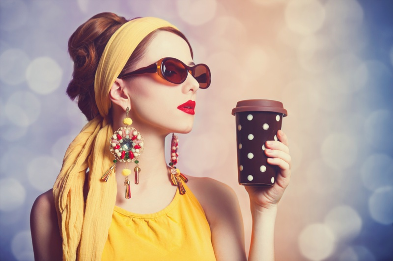 Model Yellow Retro Outfit Polka Dot Coffee Cup Statement Earrings