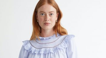 & Other Stories A-Line Ruffle Embroidery Blouse in Light Blue $89