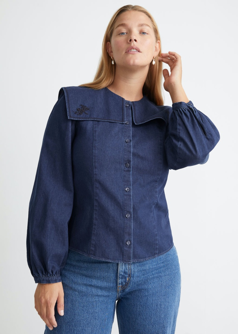 & Other Stories Embroidered Collar Denim Blouse $69
