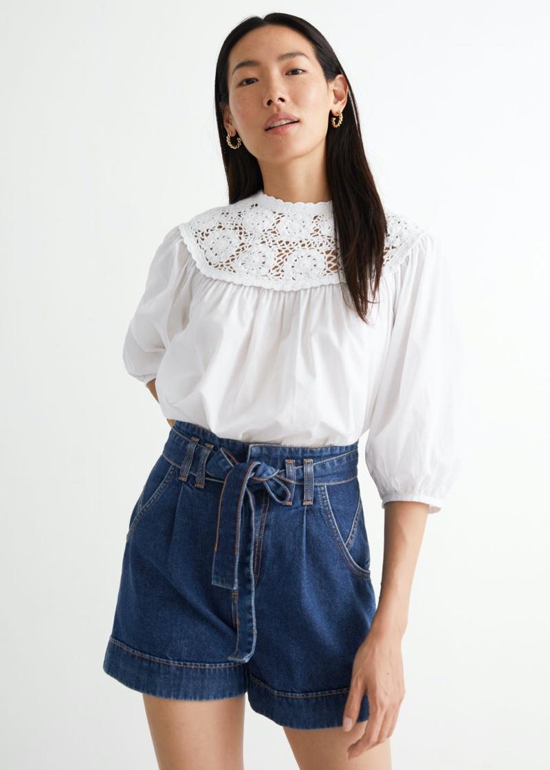 & Other Stories Voluminous Crochet Collar Blouse in White $89