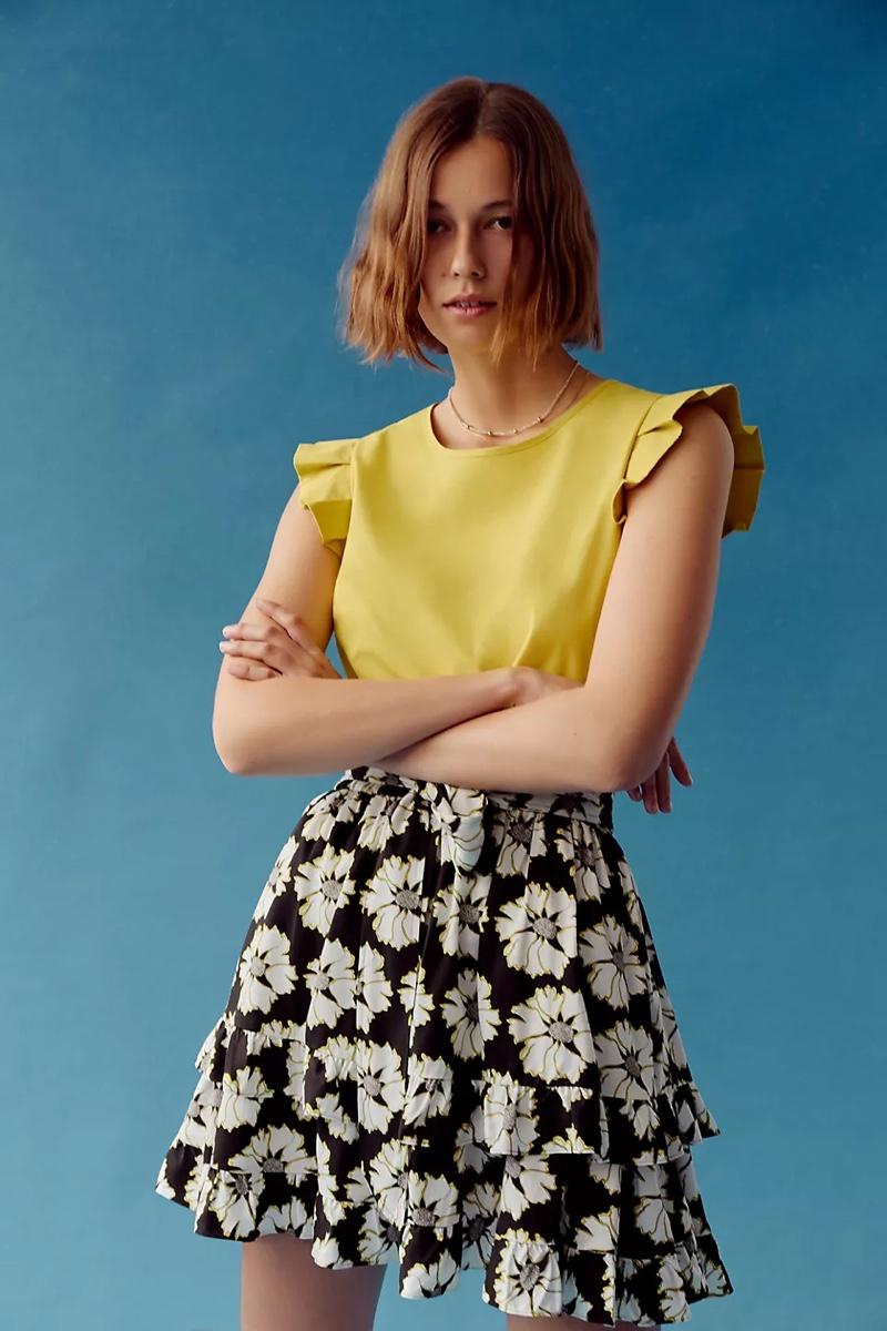 Peter Som for Anthropologie Persephone Mini Skirt in Black/White $138