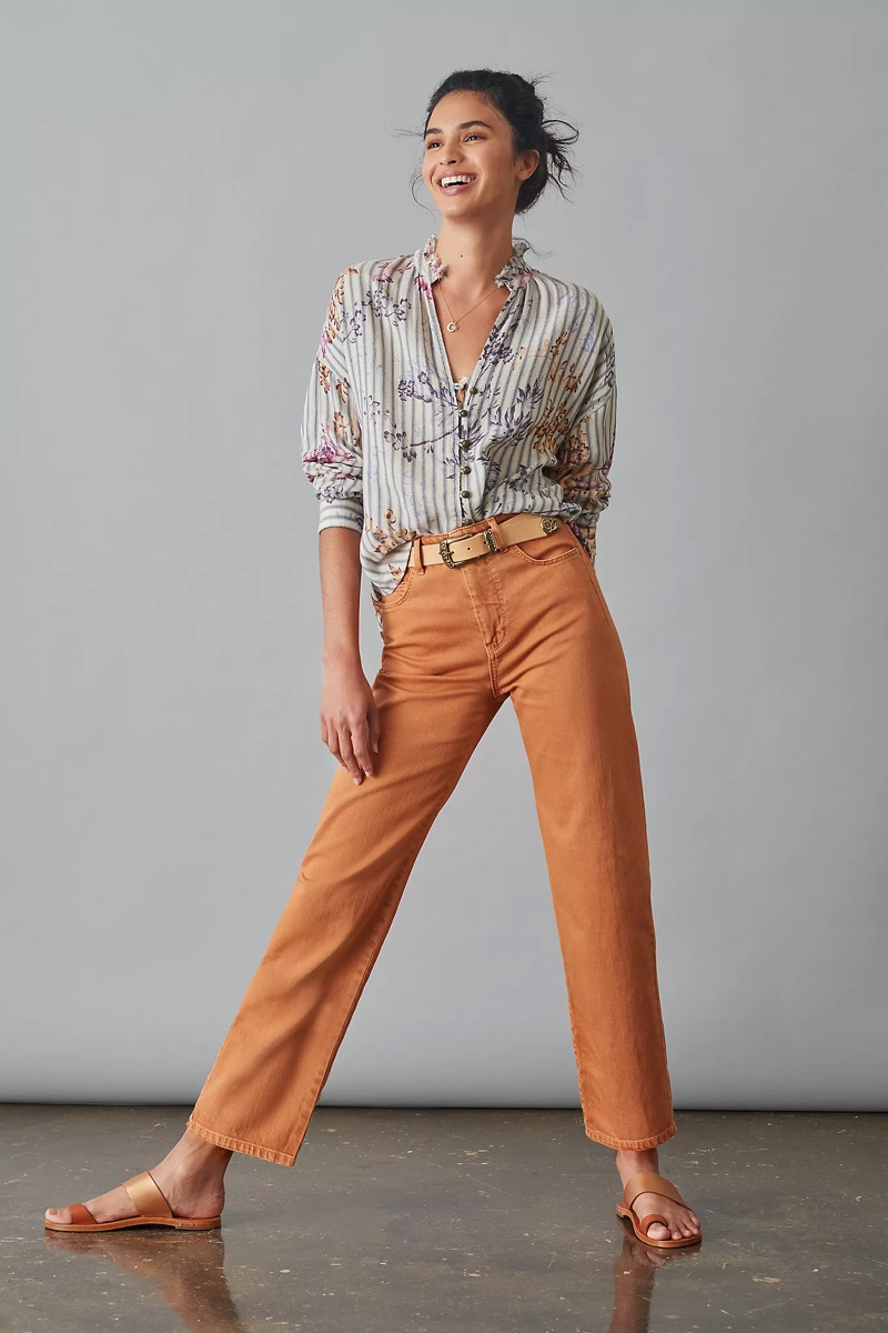 Pilcro and the Letterpress The Column Straight Jeans in Maize $128
