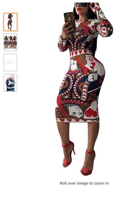 Poker Card Print dress