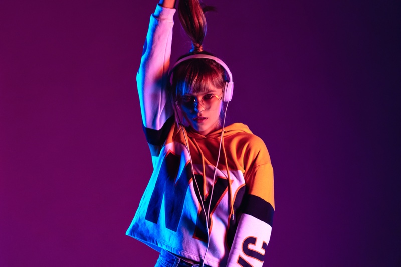 Purple Light Model Graphic Hoodie Headphones