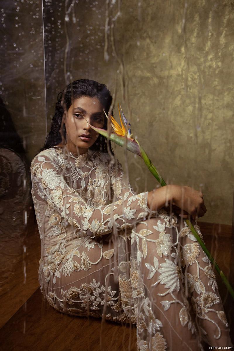 White Sheer Embellished Gown Manishii. Photo: Kay Sukumar