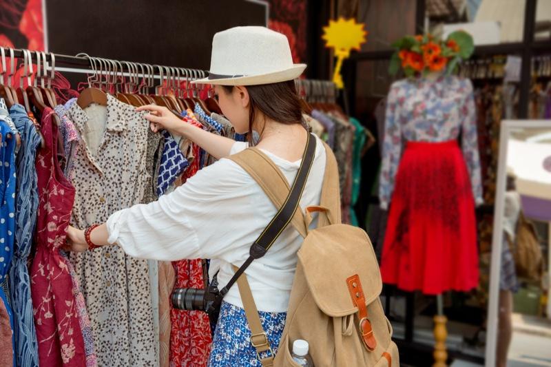 Shopping Woman Clothing Rack Store