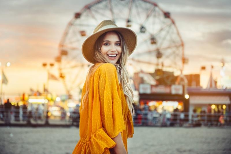 Smiling Model Yellow Dress Beach Straw Hat