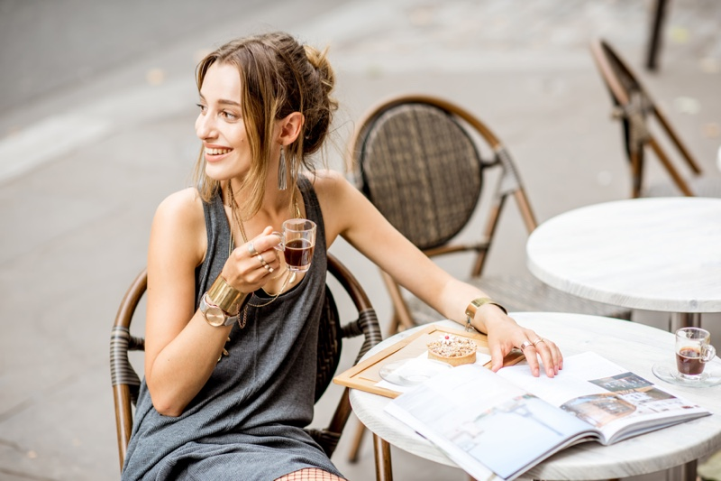 Smiling Woman Small Cup Coffee Paris Cafe Street