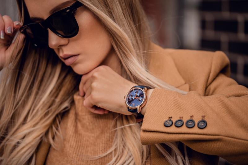 Stylish Woman Wearing Watch Sunglasses