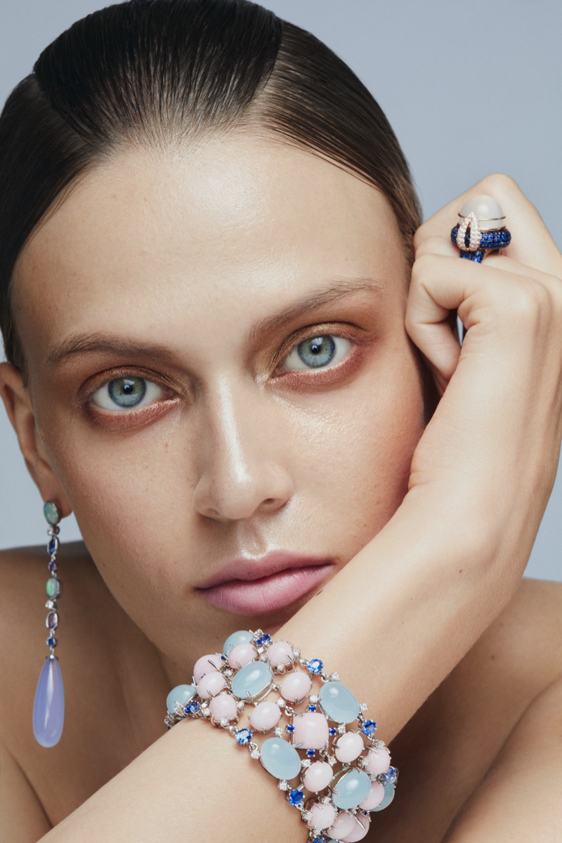 Tess Hellfeuer Sparkles in Luxe Gems for L'Officiel Singapore
