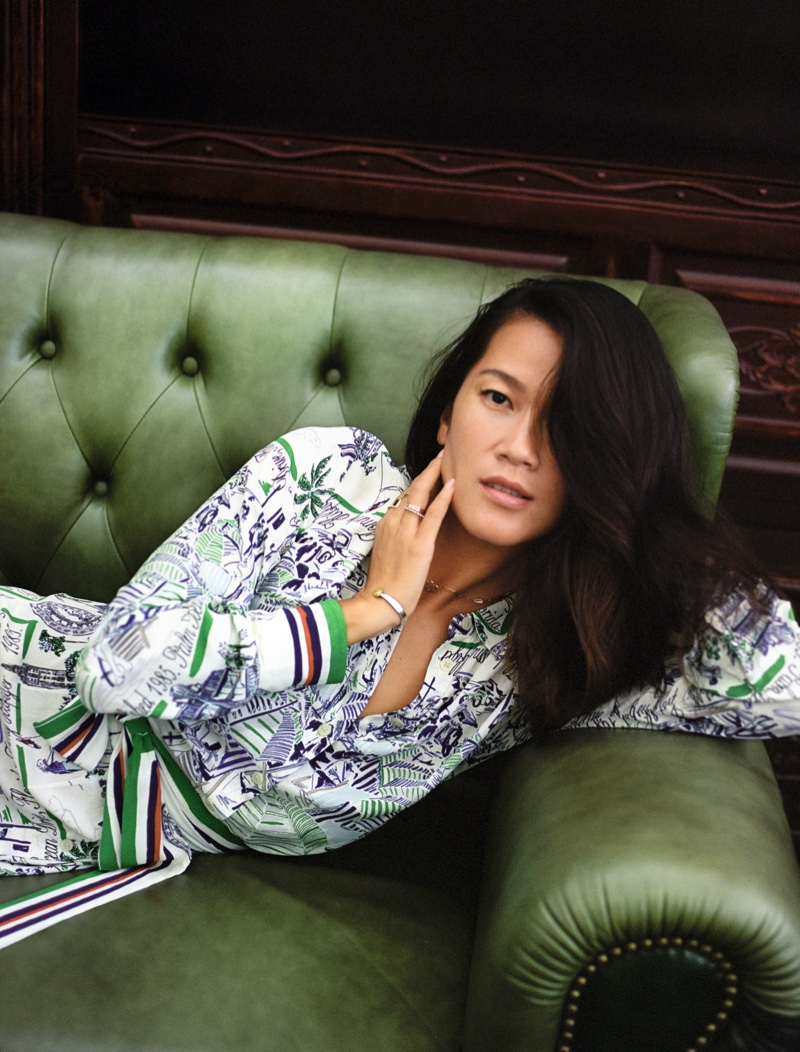 Monica Guo poses for Tommy Hilfiger spring-summer 2021 campaign.