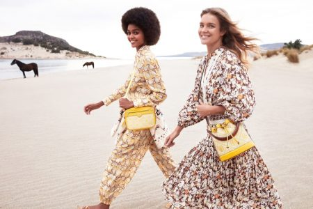 Natalia Vodianova and Blesnya Minher star in Tory Burch spring-summer 2021 campaign.