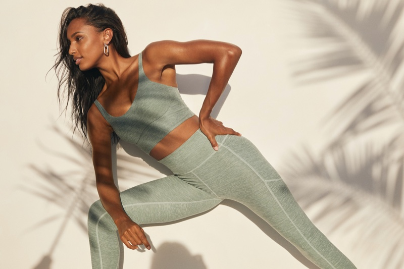 Jasmine Tookes poses in activewear look for Victoria's Secret spring 2021 campaign.
