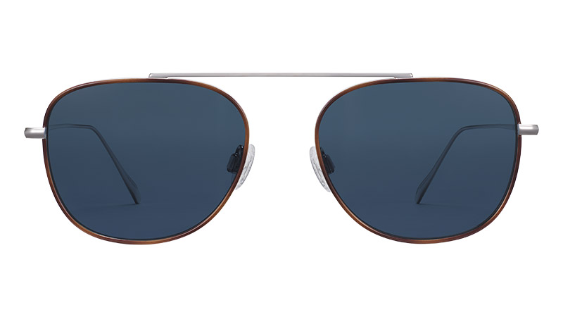Warby Parker Bolton Sunglasses in Polished Silver with Oak Barrel $195