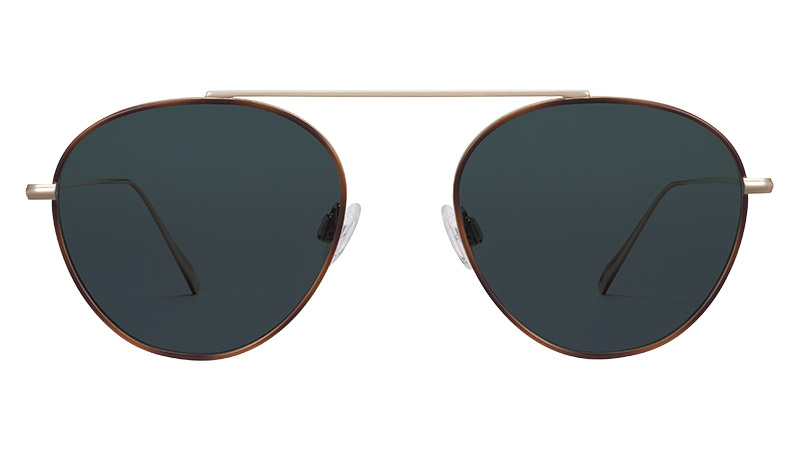 Warby Parker Newcomb Sunglasses in Polished Gold with Oak Barrel $195