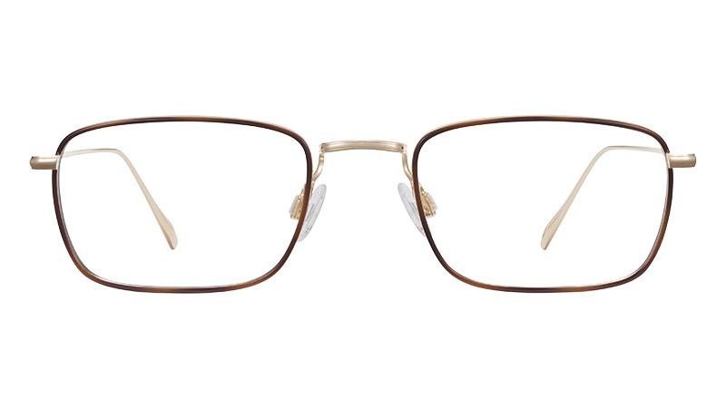 Warby Parker Stephens Glasses in Polished Gold with Oak Barrel $195