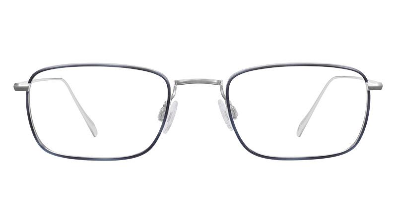 Warby Parker Stephens Glasses Polished Silver Belize Blue