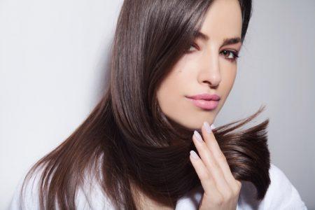 Woman Blunt Haircut Straight Brown Hair