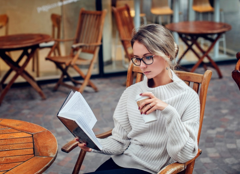 Woman Cafe Reading Book Sitting