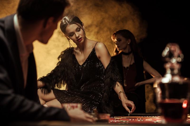 Woman Casino Black Sparkling Dress Table
