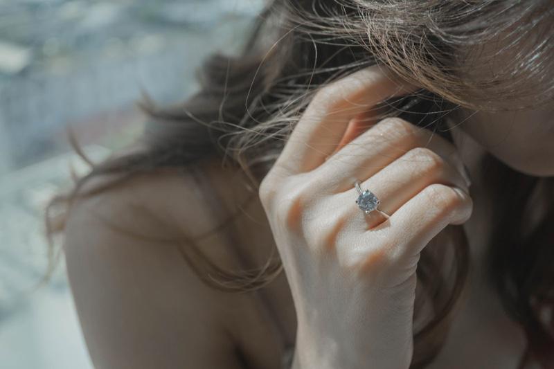 Woman Closeup Engagement Ring Minimal