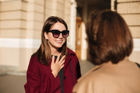 Woman Conversation Smiling Street