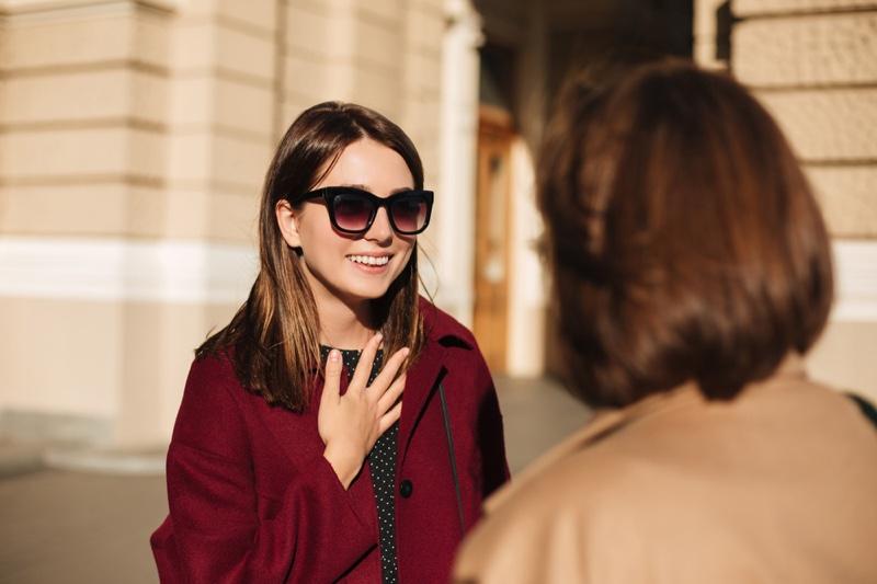 Woman Conversation Smiling Street