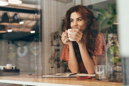 Woman Drinking Cup Coffee Tea Window Polka Dot Top