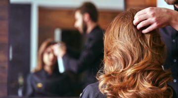 Woman Hair Salon Back View Professional