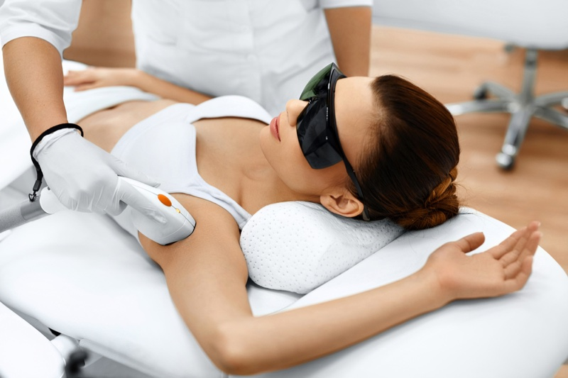 Woman Laser Hair Removal Armpit