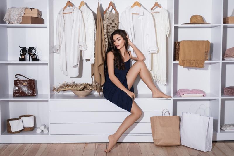 Woman Sitting Closet Wardrobe Minimal
