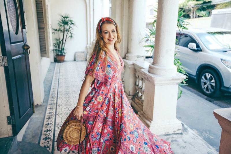 Woman Smiling Maxi Floral Print Dress