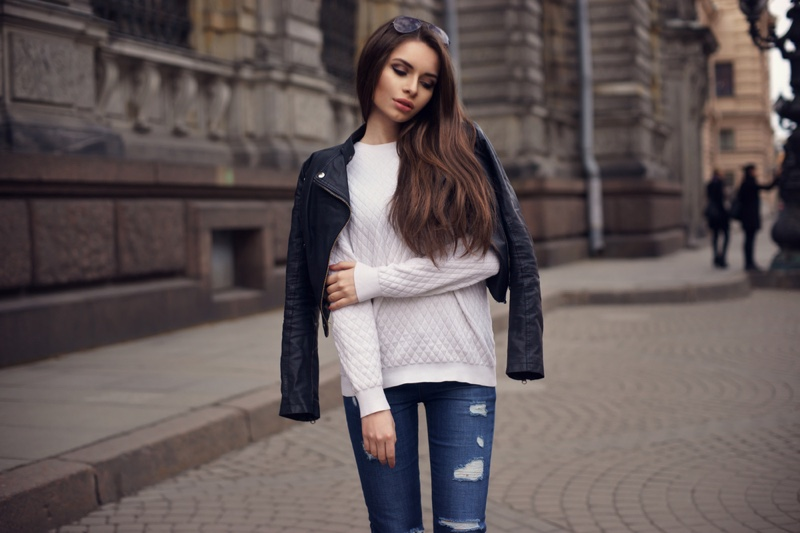 Woman Street White Sweater Leather Jacket Ripped Jeans