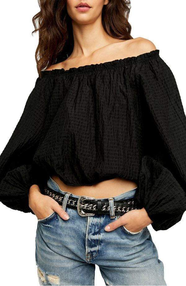 Women's Free People Alicia Off The Shoulder Top, Size X-Large - Black