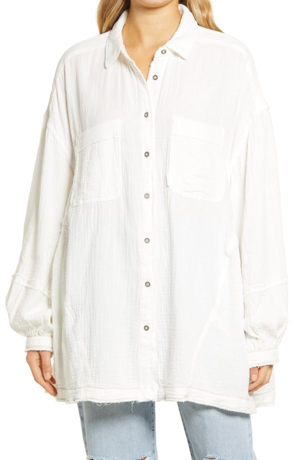 Women's Free People Anaheim Double Cloth Top, Size X-Large - Ivory
