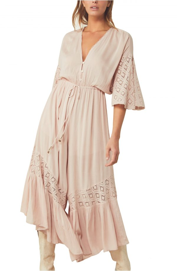Women's Free People Angela Front Button Jumpsuit, Size X-Small - Pink