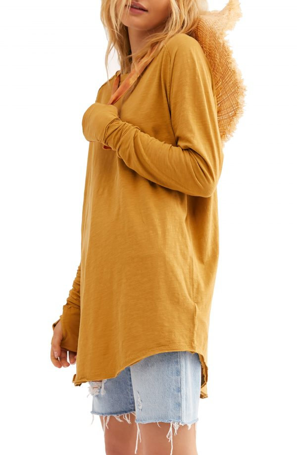 Women's Free People Arden Extra Long Cotton Top, Size Large - Yellow