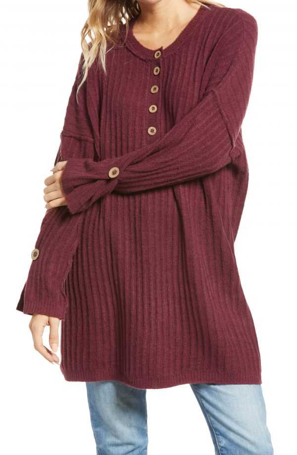Women's Free People Around The Clock Tunic Sweater, Size Small - Burgundy
