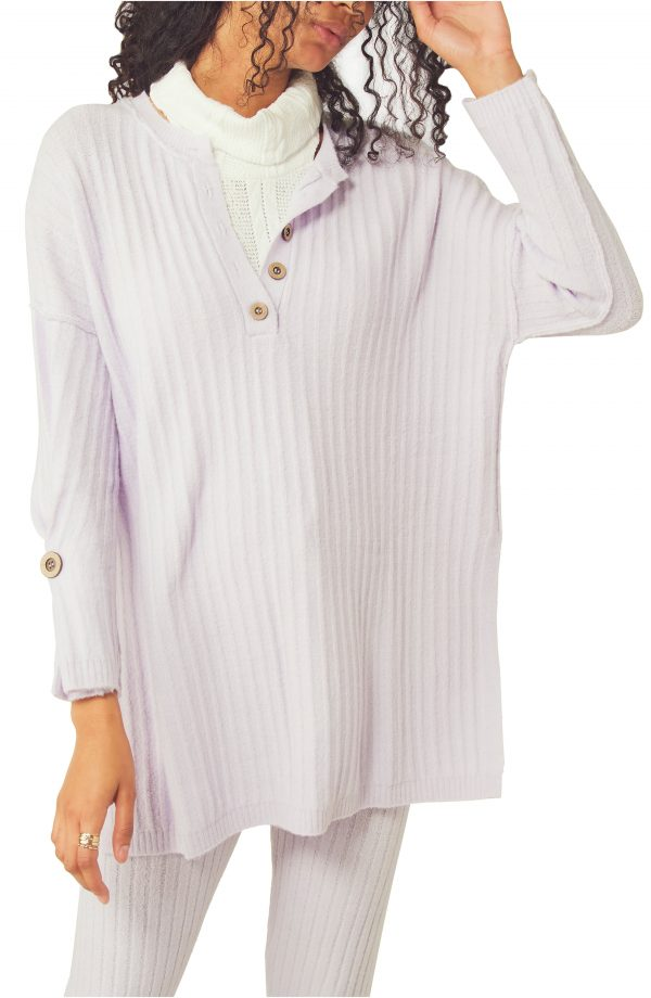 Women's Free People Around The Clock Tunic Sweater, Size X-Small Regular - Purple