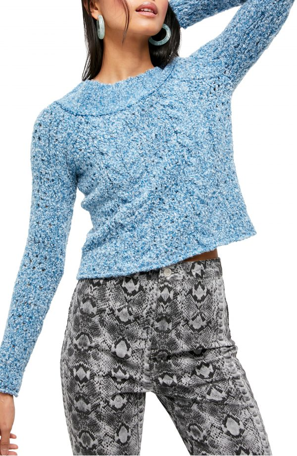 Women's Free People Avalon Off The Shoulder Sweater, Size Large - Blue