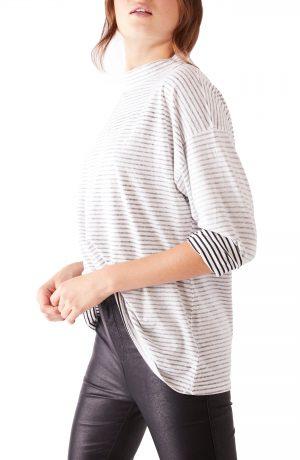 Women's Free People Be Free Mock Neck Stripe Tunic, Size X-Small - Black