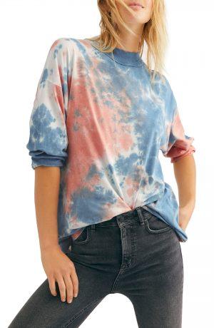 Women's Free People Be Free Tie Dye Oversize Long Sleeve T-Shirt, Size Small - Blue