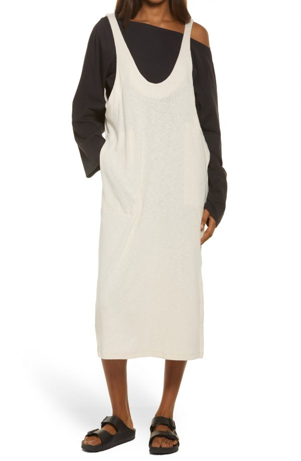 Women's Free People Be Happy Pinafore Dress & Top Set, Size X-Small - Black