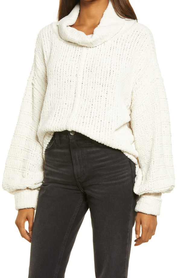 Women's Free People Be Yours Cowl Neck Sweater, Size Large - Ivory