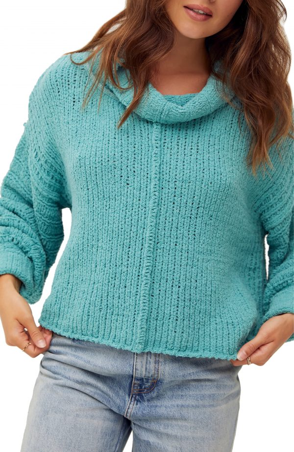 Women's Free People Be Yours Cowl Neck Sweater, Size Small - Blue/green