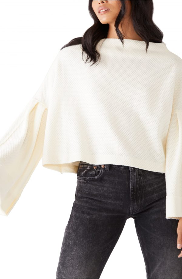 Women's Free People Bunny Bell Sleeve Top, Size X-Large - Ivory