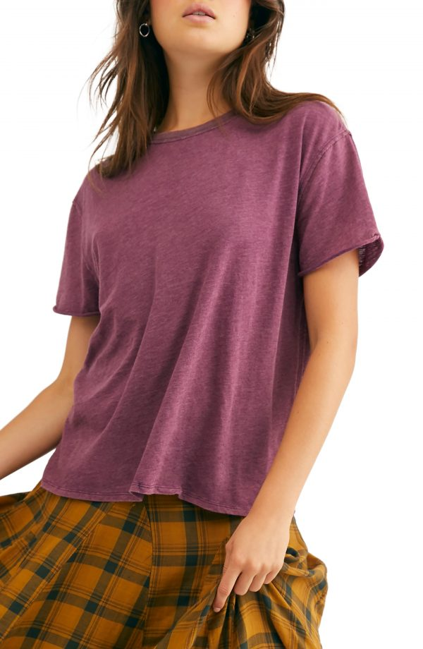 Women's Free People Clarity Tee, Size X-Small - Burgundy