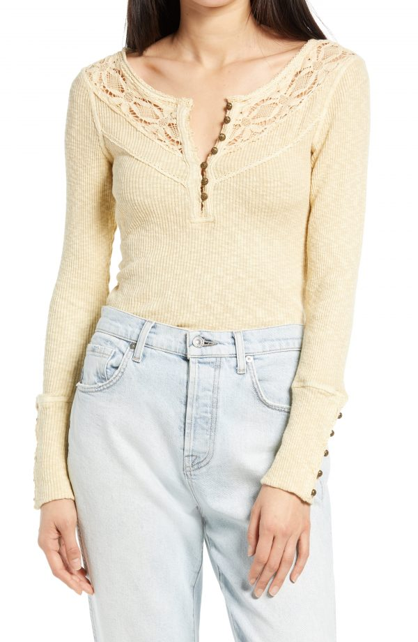 Women's Free People Come On Over Lace Henley Shirt, Size Small - Beige
